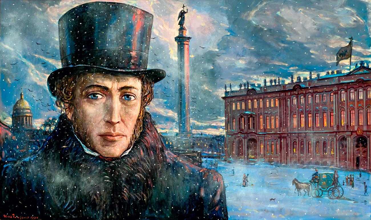 Глазунов је личне погледе на руску историју, културу и будућност земље изложио у својој последњој књизи ,,Распеће Русије''. У једном интервјуу рекао је да је овом књигом желео да преприча своје виђење историје Русије, зато што је сматрао да тренутна друштвено општеприхваћена верзија има много мањкавости и погрешних интерпретација. ,,Данас ми морамо да се вратимо нашим коренима. Нација која не зна своју историју нема будућност'', сматрао је Иља Глазунов.(Слика: А.С. Пушкин. Уочи. 1994. година)