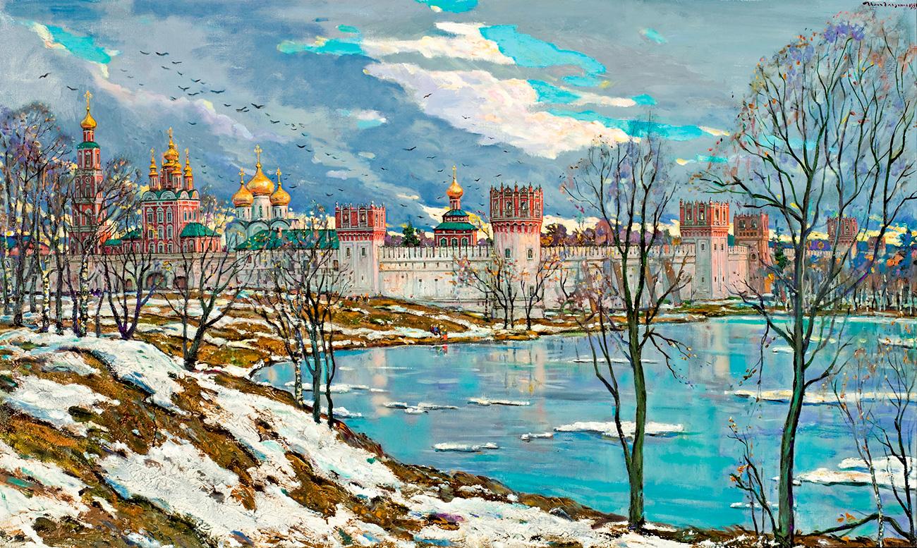 Елита и јавност успорено су прихватали да совјетски експеримент није у стању да функционише, покушавајући да излаз из проблема нађу уз помоћ историје. Глазунов је осећао тај тренд и показивао га је својом уметношћу.(Слика: Манастир Новодевичиј, 1999. година)