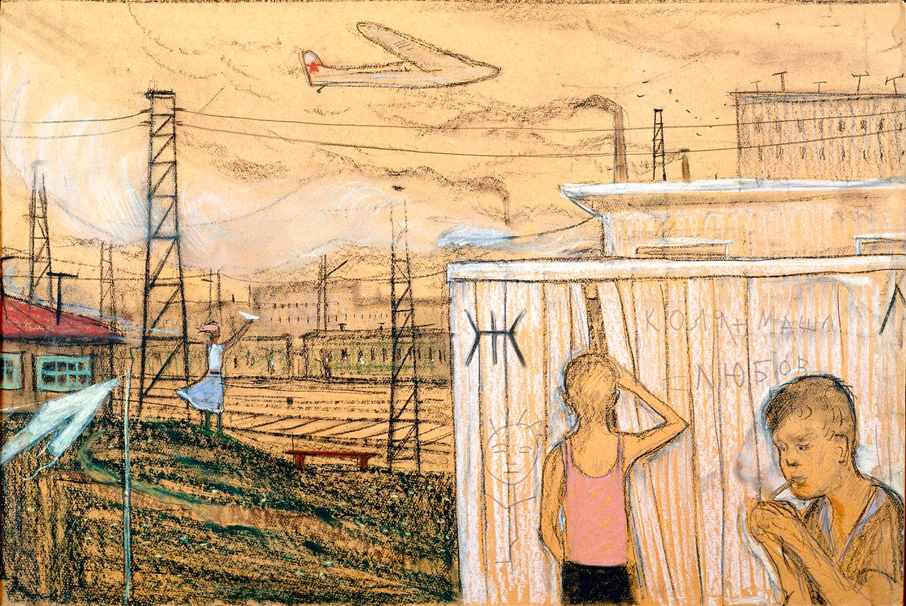 Глазунов је осећао промене у расположењу јавности током шездесетих година, значајно незадовољство ситуацијом и носталгију за традицијама које су постојале пре.(Слика: Јавно купатило. Деца града, 1961. година)