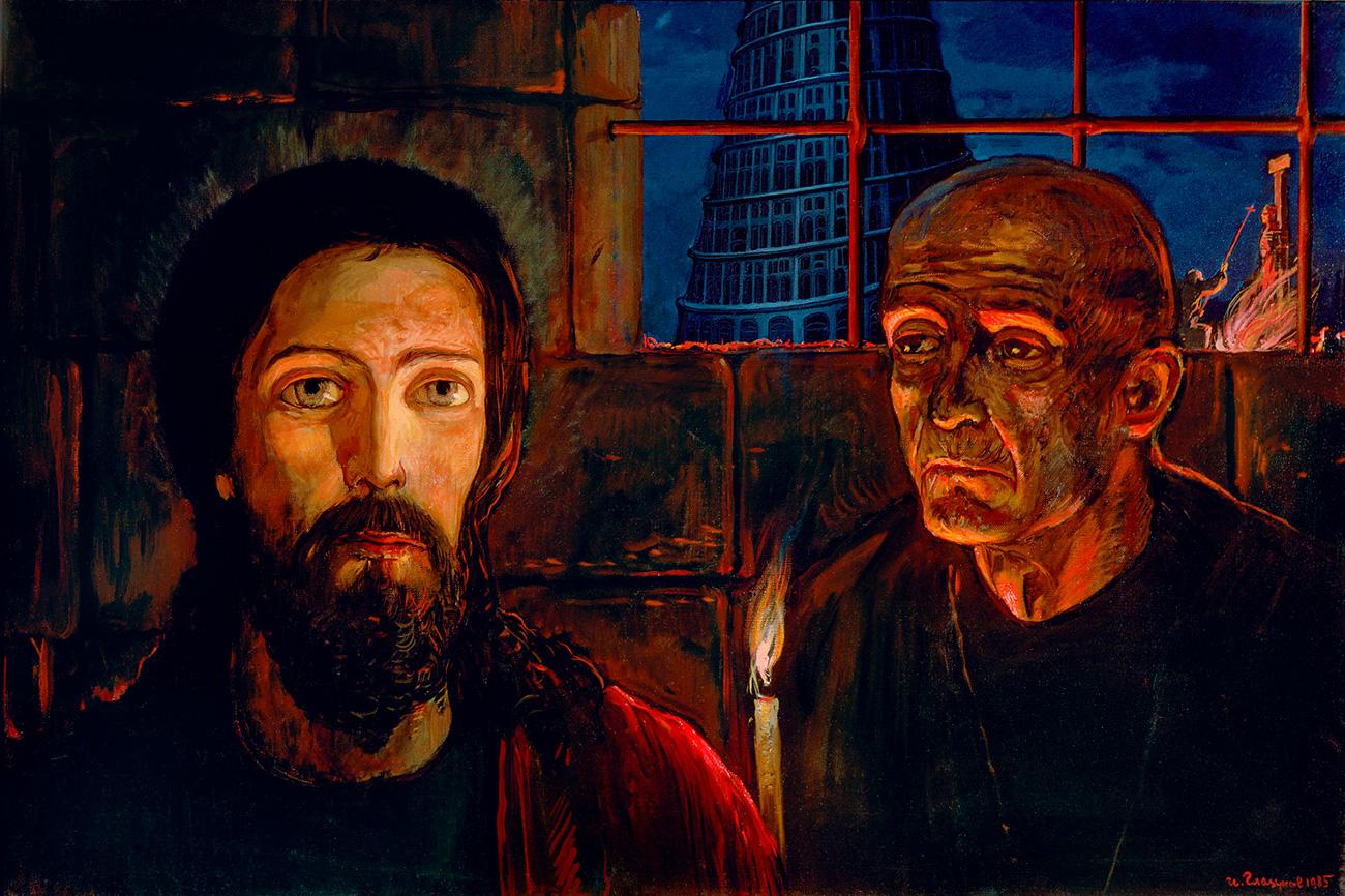 Поред монументалних слика, Глазунов је такође био веома познат у илустрацијама дела Фјодора М. Достојевског. То представља један од врхунаца његове уметности, јер је он био једини сликар који је направио илустрације за свако дело Достојевског. (Слика: Велики инквизитор, 1985. година)