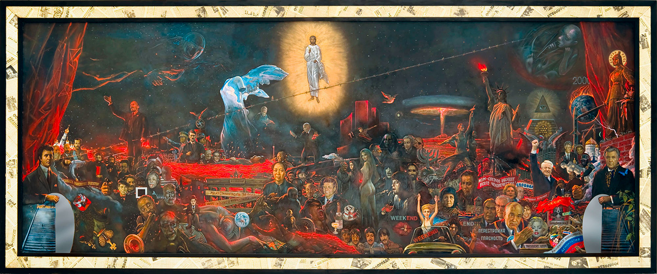 Глазунова су често пратиле гласине и скандали, који су само повећавали заинтересованост за његове слике. Док су га поштоваоци означавали за највећег руског уметника века, критичари су истицали историјске грешке и неуобичајено равну технику његовог сликарства.(Слика: Мистерија ХХ века, 1999. година)
