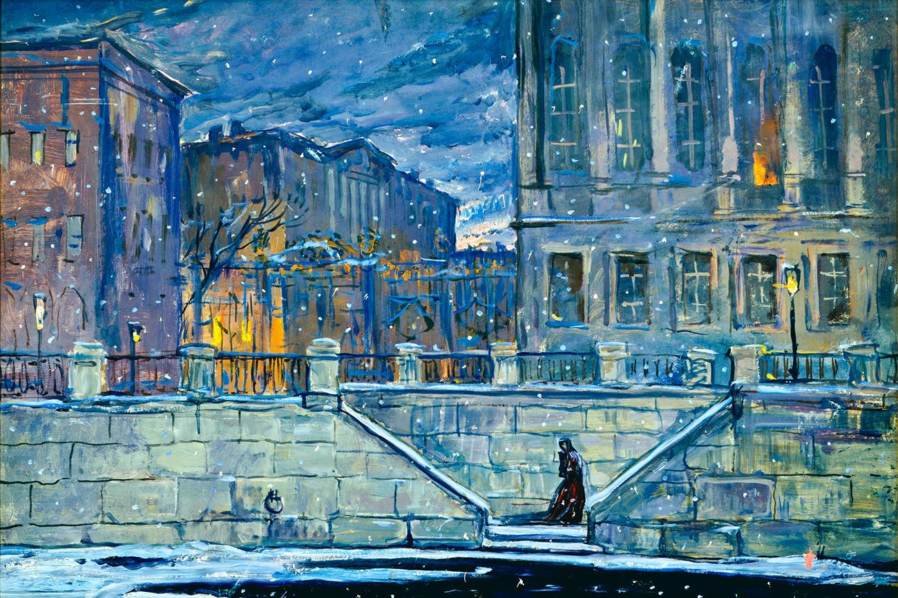 ,,Глазунов је често користио политичку ситуацију, али никада није желео да се изгуби у томе'', наводи Боровски, додајући да ,,он није представљао историју издвојену као такву, већ веровања и мишљења његове генерације према одређеним историјским моментима''.(Слика: Петербург. Обала Неве, 1981. година)