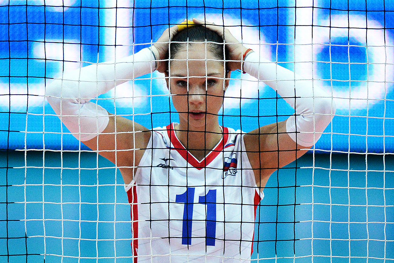 Russia's Yekaterina Gamova-Mukasei during a Russia vs. Thailand match of the 2014 FIVB Volleyball Women's World Championship in Verona.