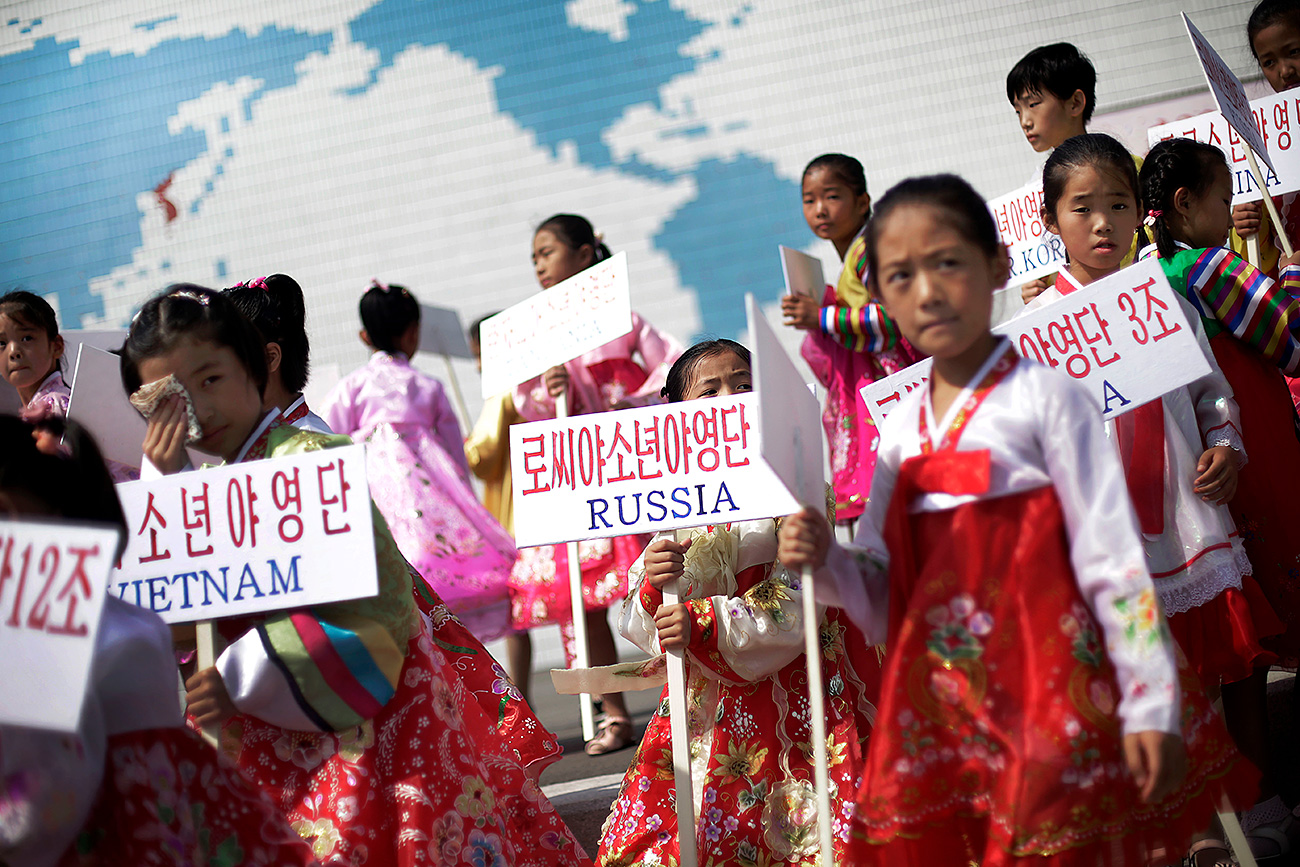 Young North Korean girls during an opening ceremony at the Songdowon International Children's Camp.