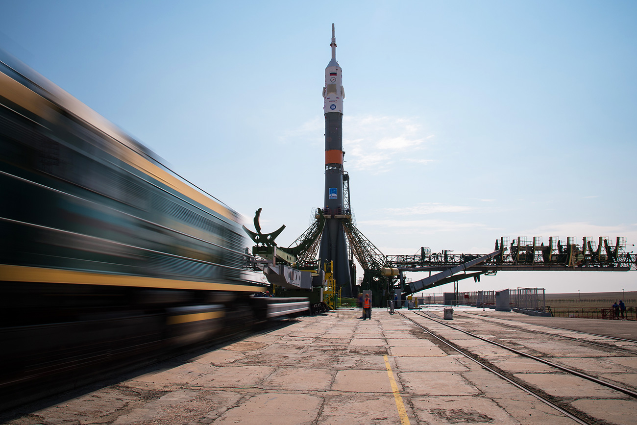 Baikonur, Kazakhstan - The Soyuz MS-01 spacecraft