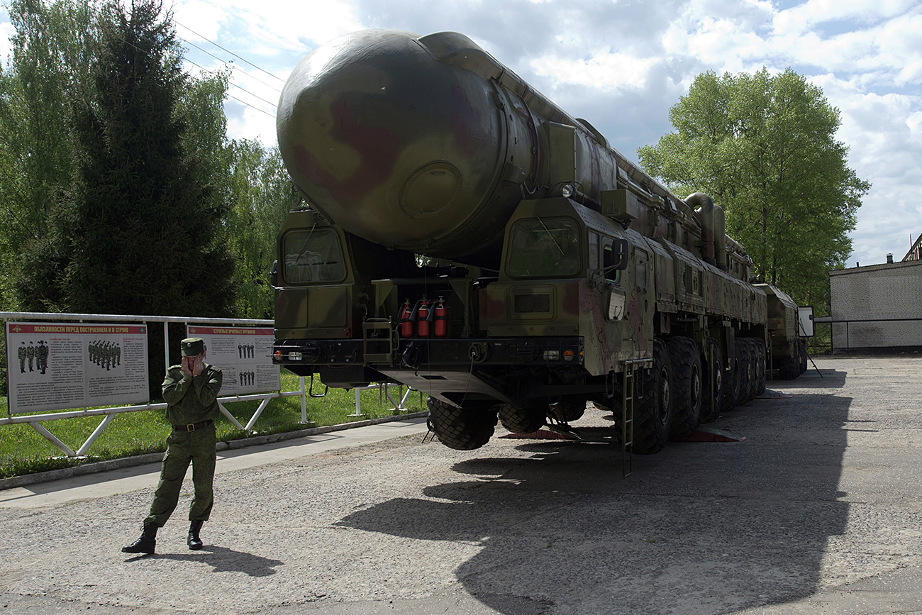 The Topol RT-2PM missile complex exhibited in the Museum of Strategic Missile Forces based on the territory of Strategic Missile Forces' training regiment in the town of Balabanov, Kaluga region.