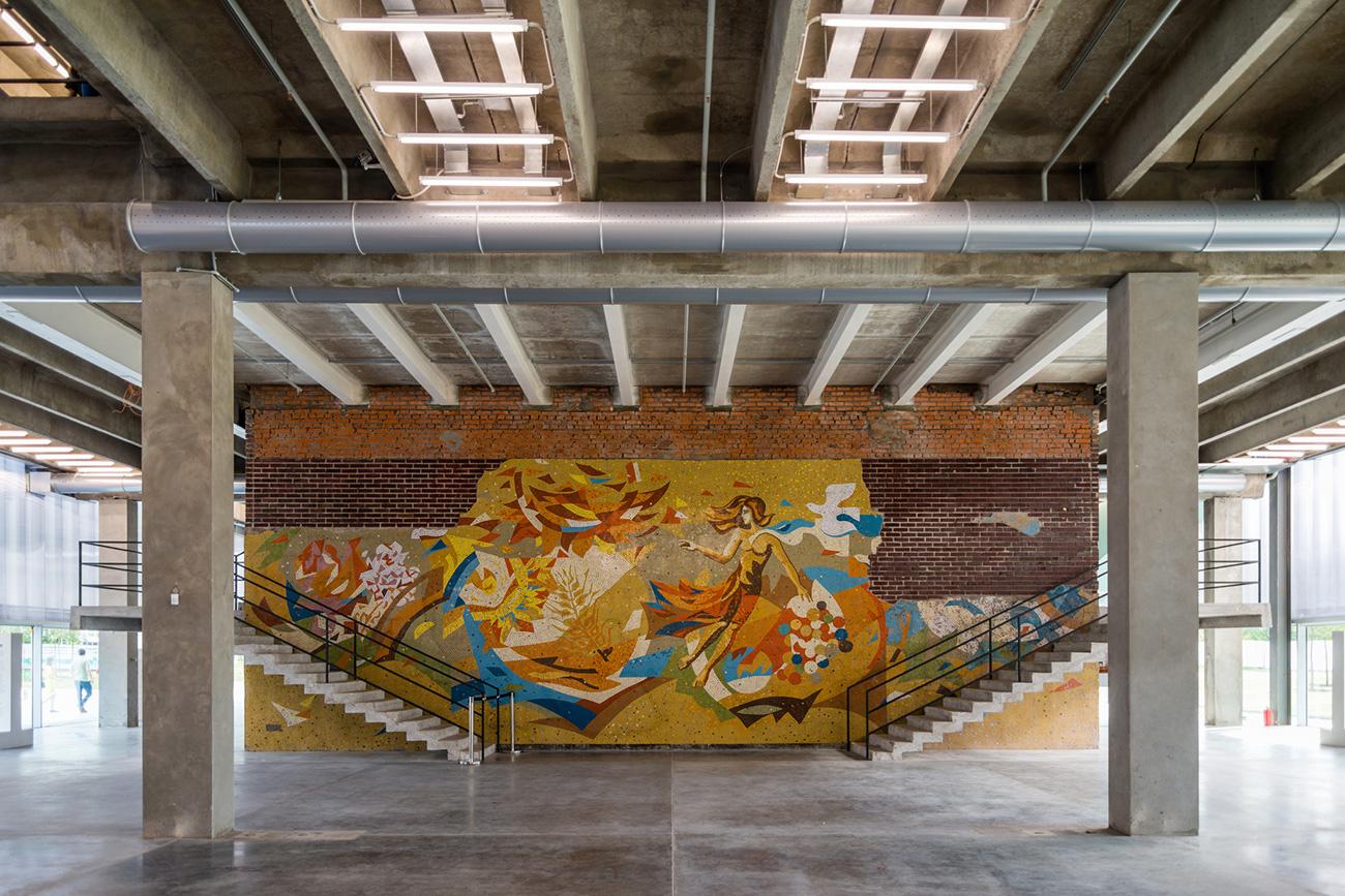 Soviet mosaics inside the museum\n