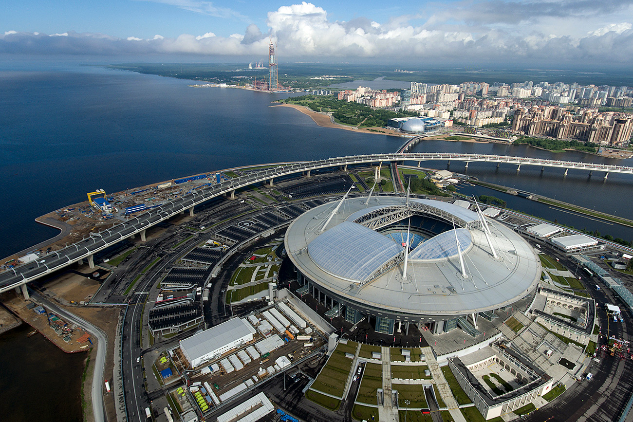 68,000-seat football stadium was built at the cost of 43 billion rubles (about $782 million)\n