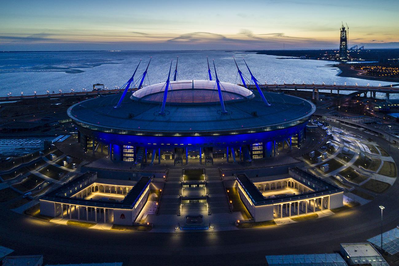 St. Petersburg arena at night\n