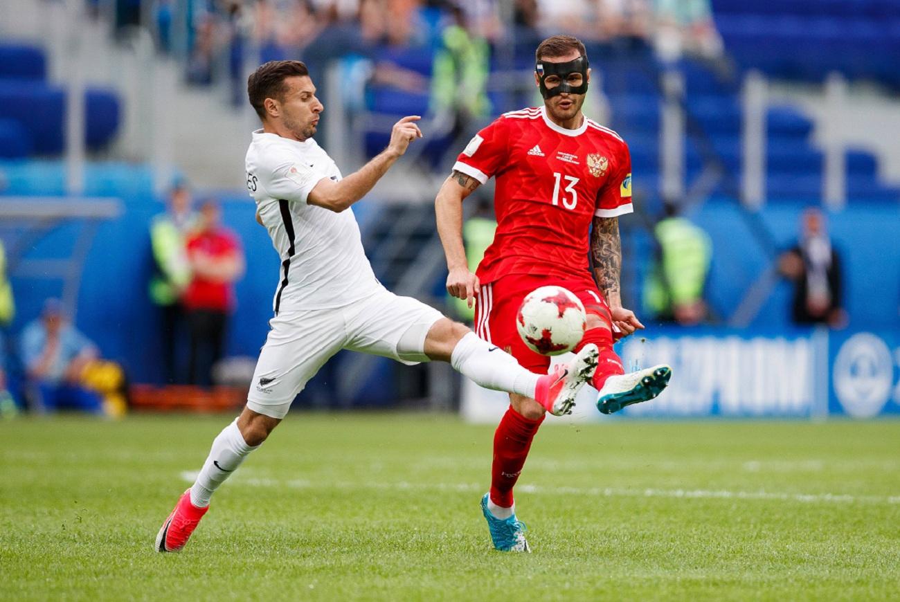 Tim nasional sepak bola Rusia mengalahkan Selandia Baru dengan skor 2 - 0 dalam laga pembuka Piala Konfederasi 2017.