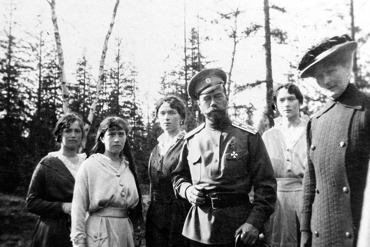 UNDATED: Tsar Nicholas II with daughters (L-2nd R) Maria Romanov, Anastasia Romanov, Olga Romanov, Tatiana Romanov. The series of the unique pictures were taken by the Tsar Nicholas II himself or people close to the royal family. They were realized in 1915-1916, the most terrible years of World War I. Nicholas II was an insatiable photographer. He took special care of pictures, filed them with care in numerous albums. He passed down his love for photography to Maria, his third daughter, who is responsible for colouring most of the pictures