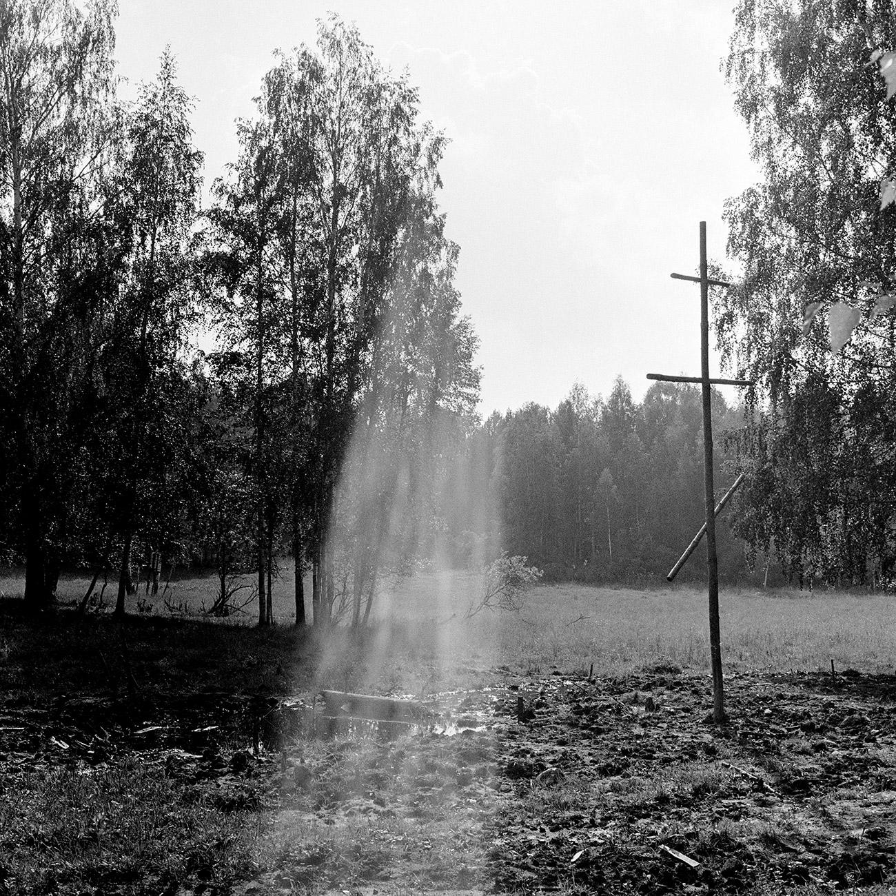 Il luogo dove sono stati rinvenuti i resti della famiglia Romanov dopo la fucilazione a Ekaterinburg, 1992. Fonte: Anatolij Semyokhin/TASS