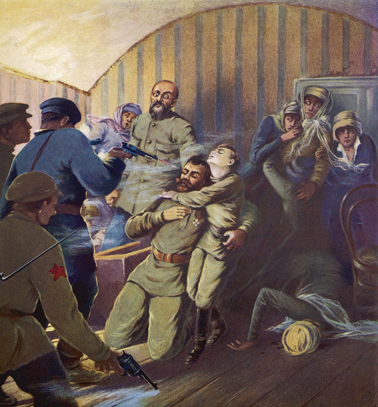 L'esecuzione dello zar Nicola II e della sua famiglia a Ekaterinburg. Fonte: Mary Evans Picture Library/Global Look Press