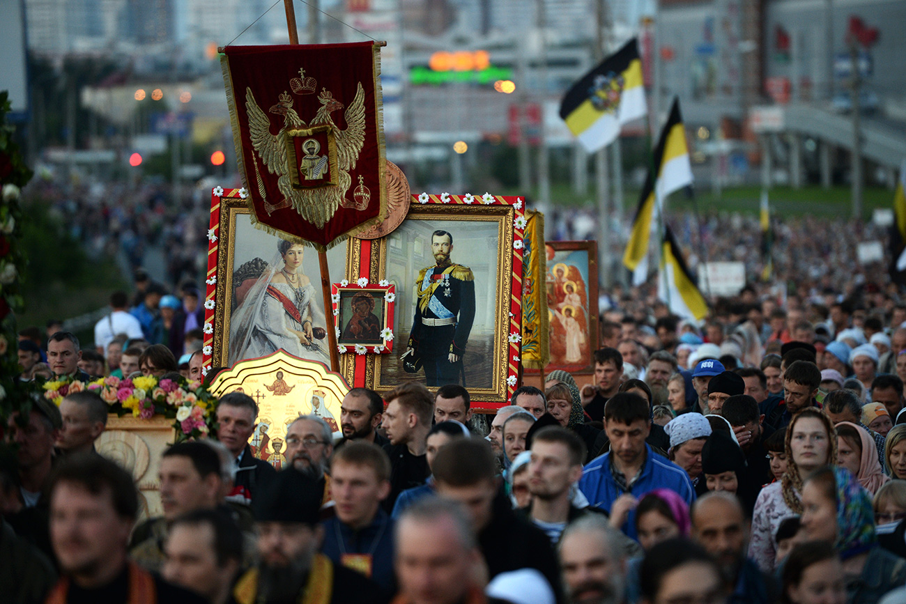 Worshipers during a religious procession in memory of the last Russian Tsar Nicolas II and his family, in Yekaterinburg.