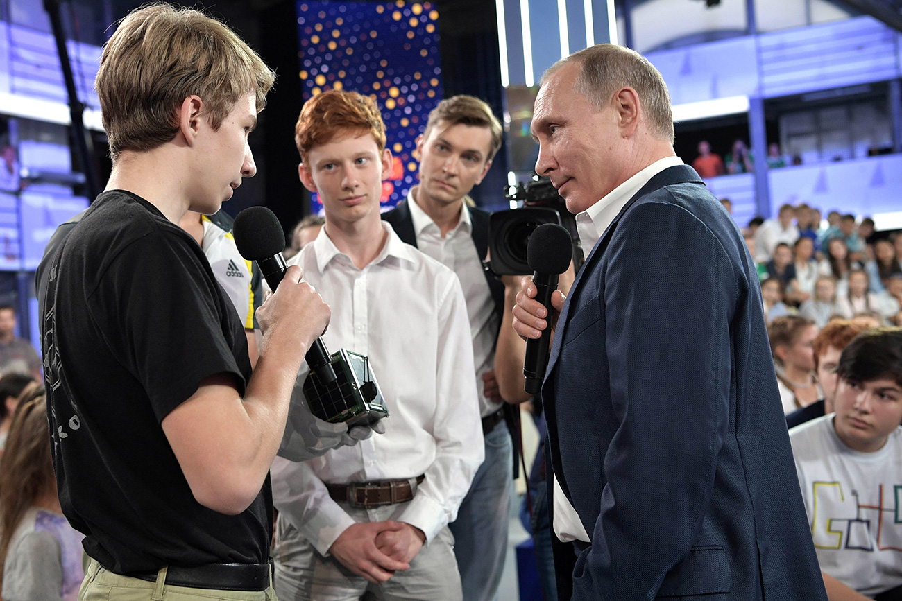 Vladimir Putin answers questions during the No Nonsense Talk with Vladimir Putin held at the Sirius educational center for gifted children