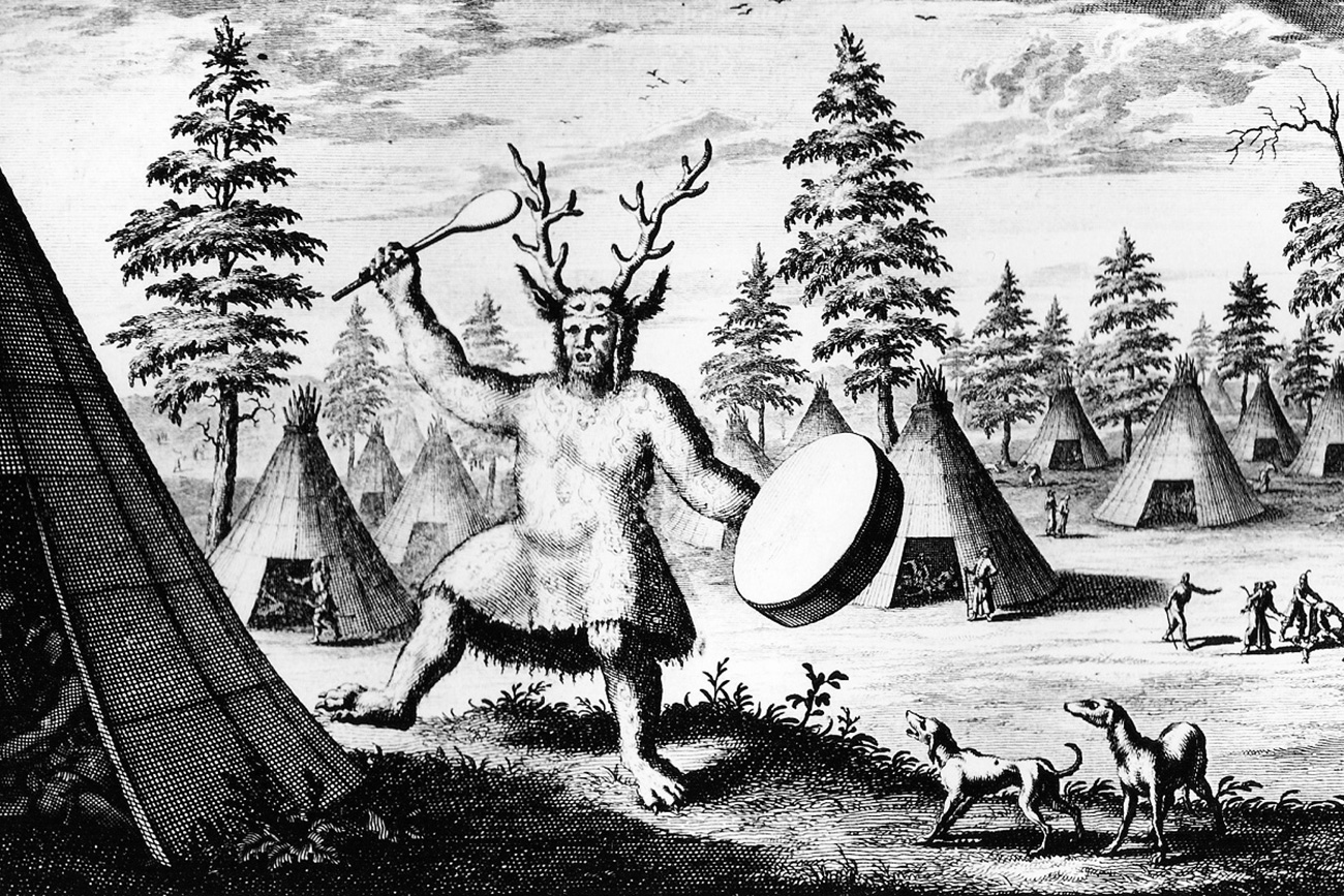 Shaman, or the devil's priest. Illustration from the book of traveler Nicolaes Witsen.