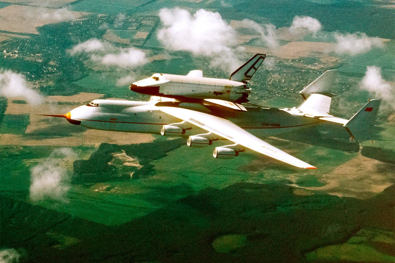 Antonov An-225 Cossack Mriya [Dream] airplane with Buran [Snow Storm] reusable space shuttle on external store enroute from Baikonur space center to Kiev, the capital of Ukraine. 05/19/2006