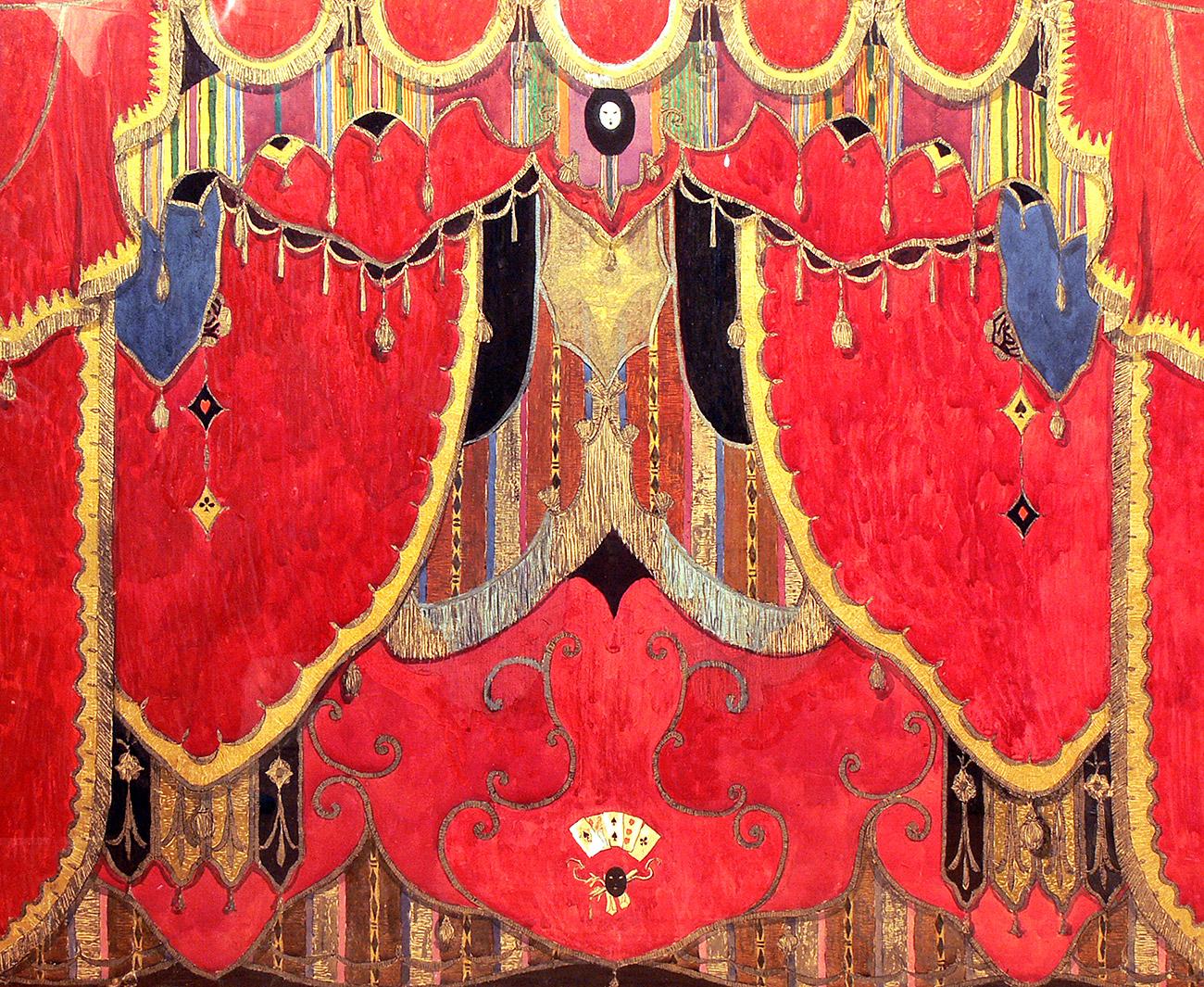 "Alexander Golovin's design for a ""Masquerade "" curtain / Alexandrinsky Theatre"