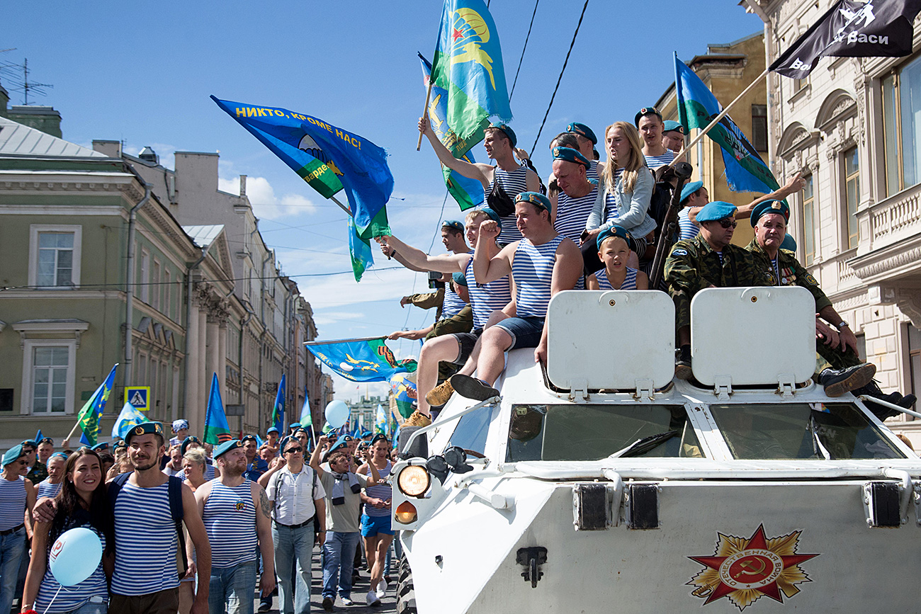 Celebração das Forças Aerotransportadas em São Petersburgo