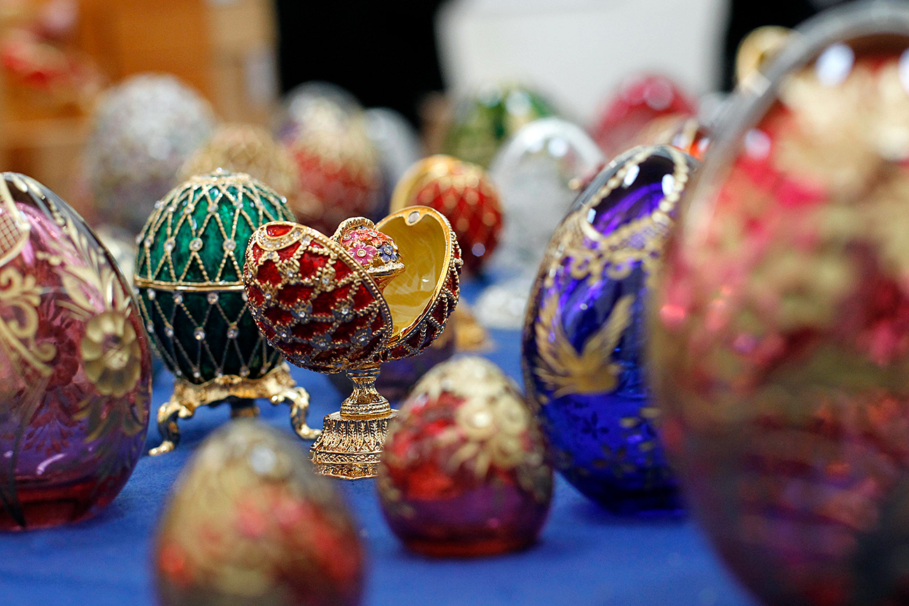 A close-up of some of the 354 counterfeit Faberge eggs originating from Russia seized by French customs agents at Roissy Airport on Nov. 15, in Roissy, north of Paris, Tuesday, Dec. 14, 2010. French customs agents uncovered a nest of 354 bejeweled eggs on Nov. 15, and declared them counterfeit copies of the famed Faberge collection
