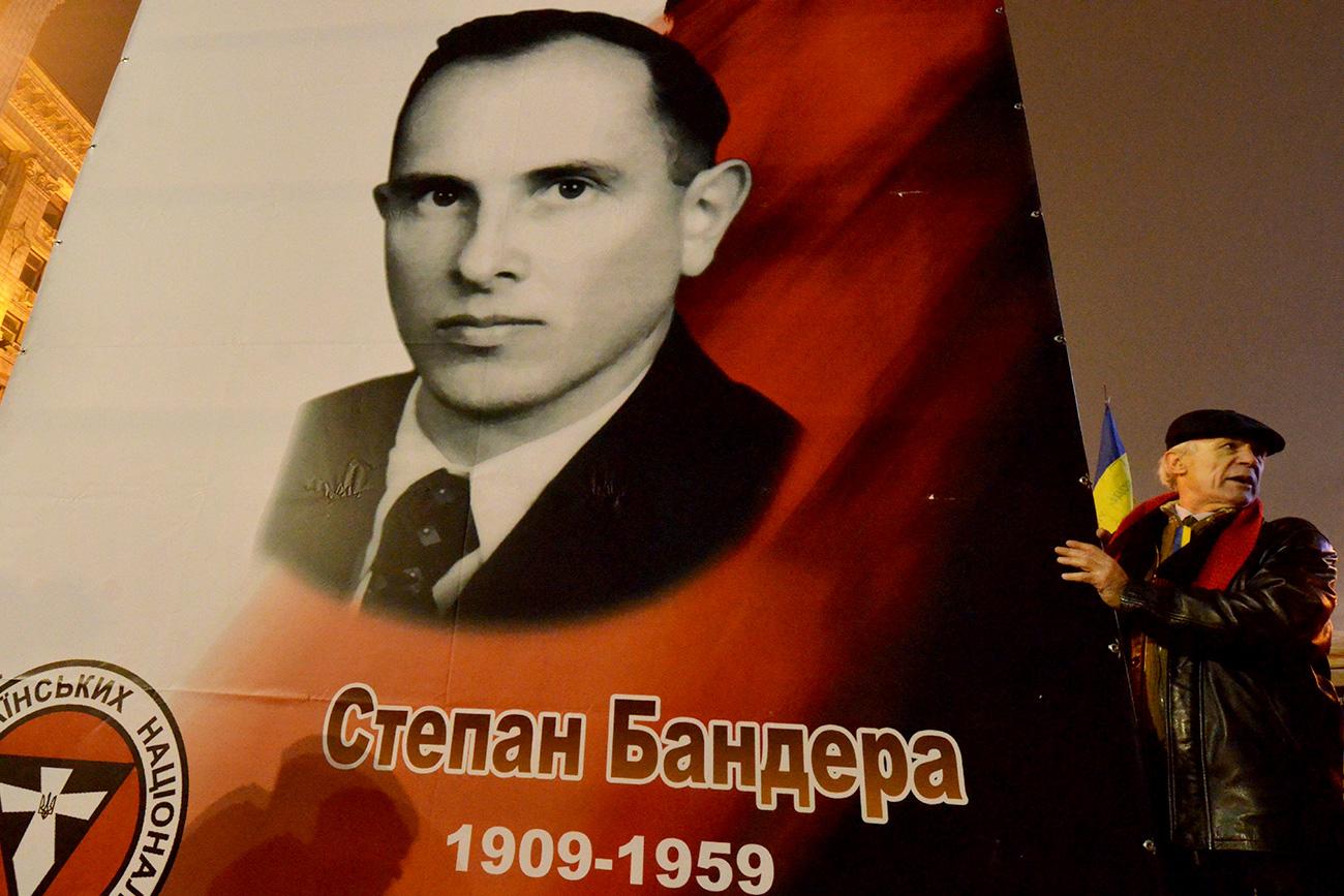 El poster con Stepán Bandera en Ucrania. Fuente: CTK/Global Look Press