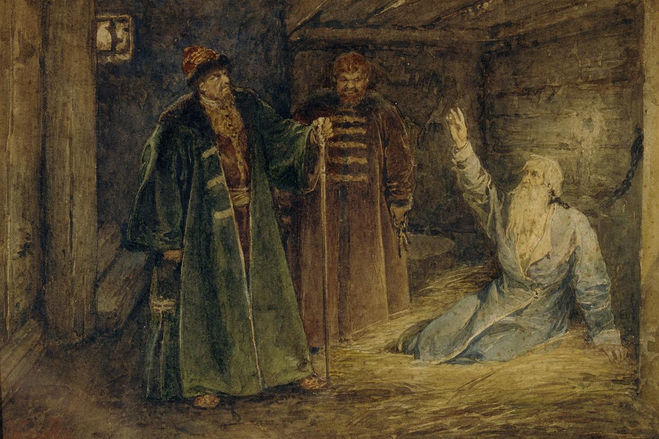 Цар Иван Грозни и Маљута Скуратов у посети бољару Морозову. Уметник: Клаудиј Васиљевич Лебедев (1852-1916). Извор: Legion Media.