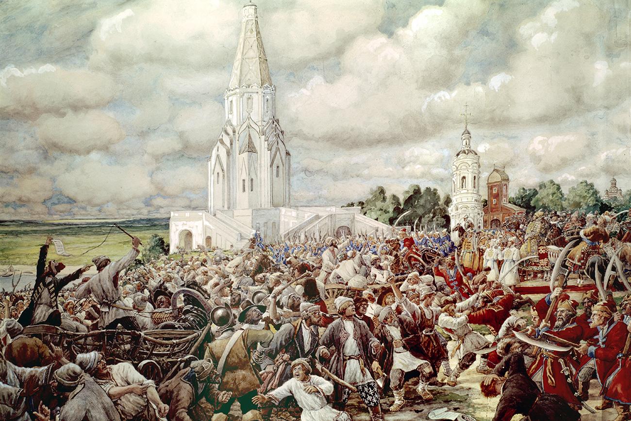 """Sob ordem do tsar, as forças militares atacaram a multidão, muito menos armada. // Pintura """"Revolta do Cobre 1662"""" de Ernst Lissner, Museu Estatal de Kolomenskoie, Moscou."""