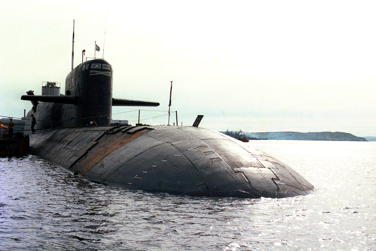 The Russian nuclear submarine Novomoskovsk is seen docked in Severomorsk, Russia, Wednesday, July 1, 1998