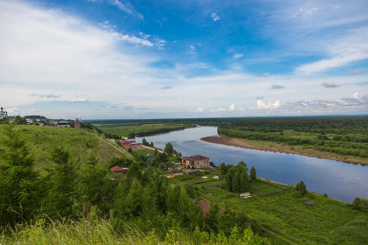 Cherdyn, ex capitale della Grande Permia, e il corso del fiume Kolva. Fonte: Oleg Vorobjov