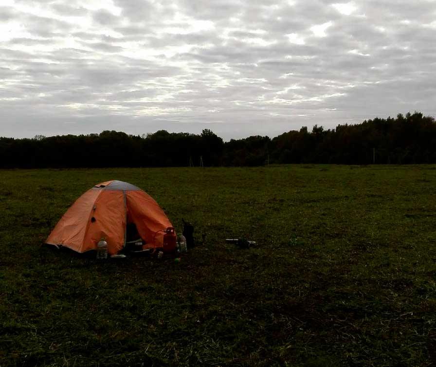 La tenda dove Anton ha vissuto durante il periodo di ricerca dei cani. Fonte: @perecosyak
