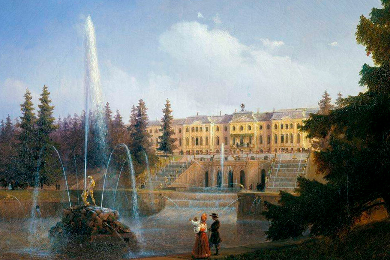Look to the Large Cascade and Large Petergof Palace.