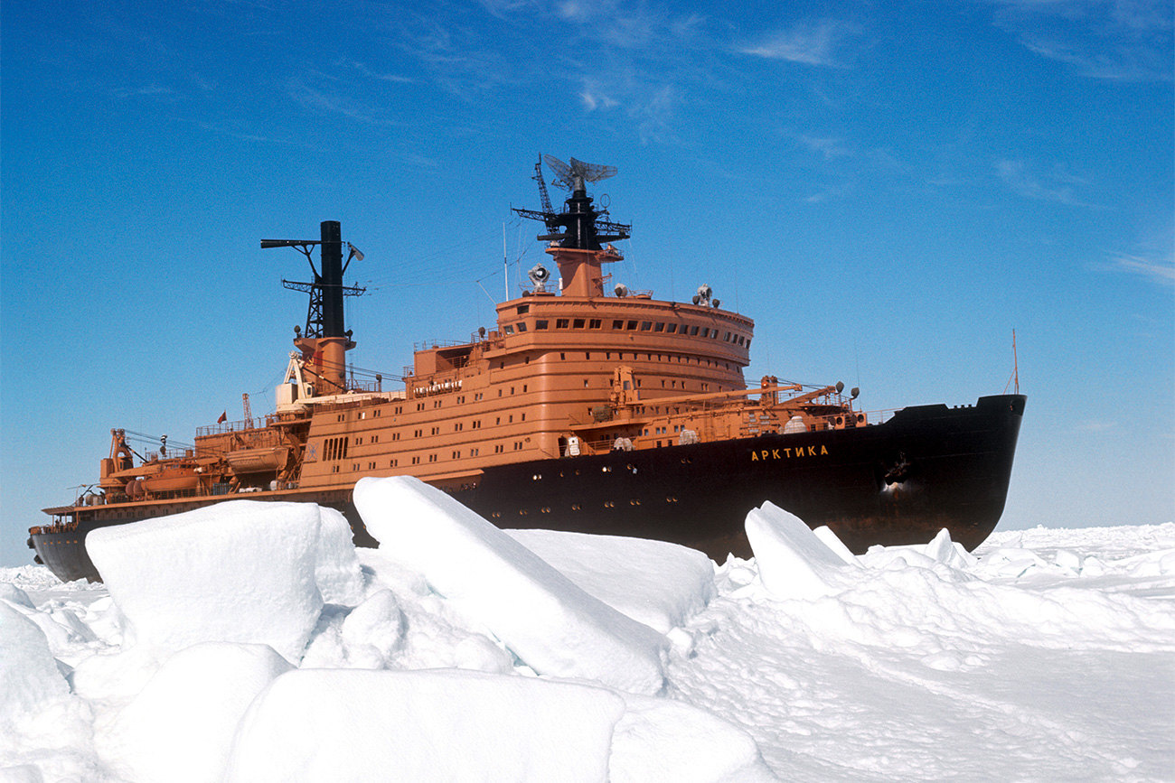 The Arktika nuclear-powered icebreaker among ice and snow.