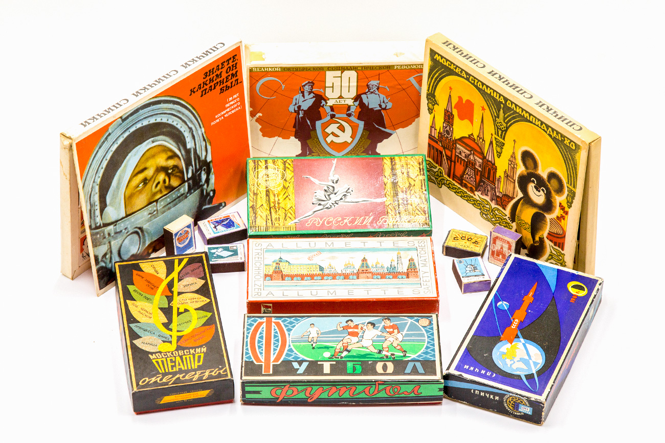 A small part of Bogdan Spichkoff's collection of Soviet matchboxes