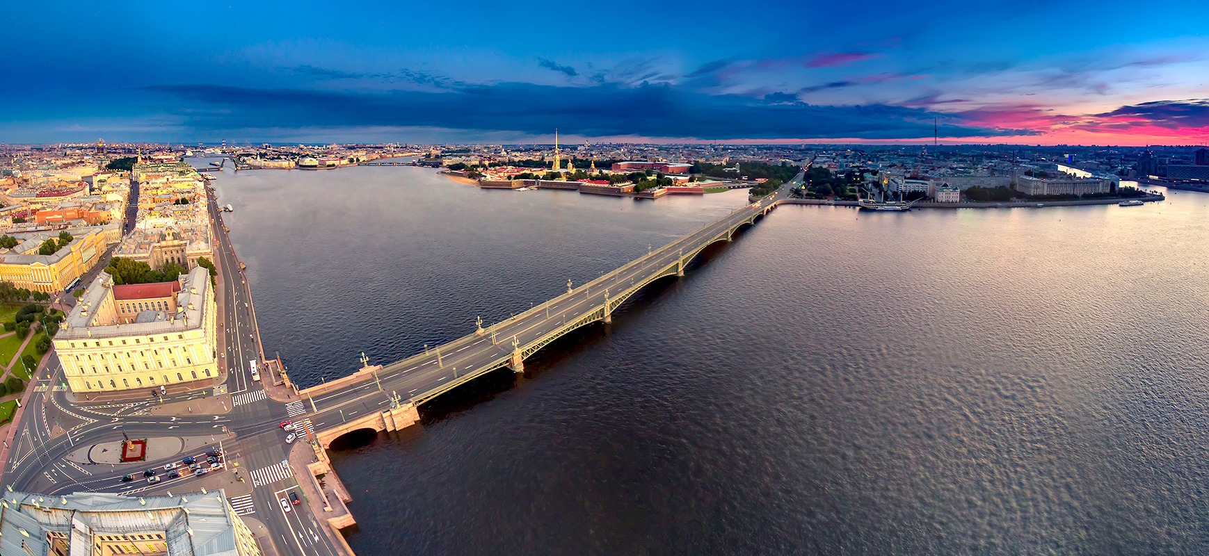 Panorama in St. Petersburg. Trinity Bridge. Peter-Pavel's Fortress.
