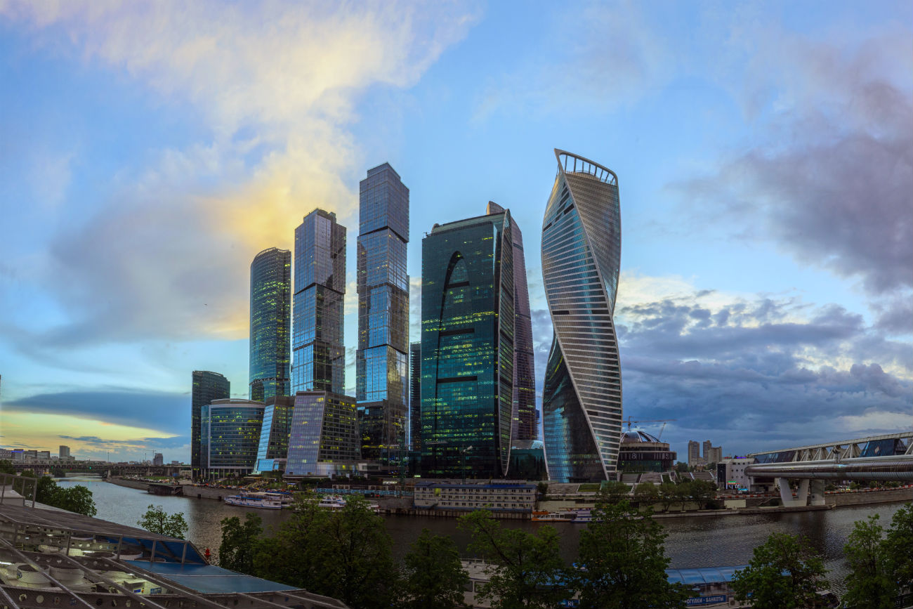 Moscow, Russia. This composite photo shows the Moscow International Business Center from the Moskva River's Taras Shevchenko Embankment. 29.05.2017