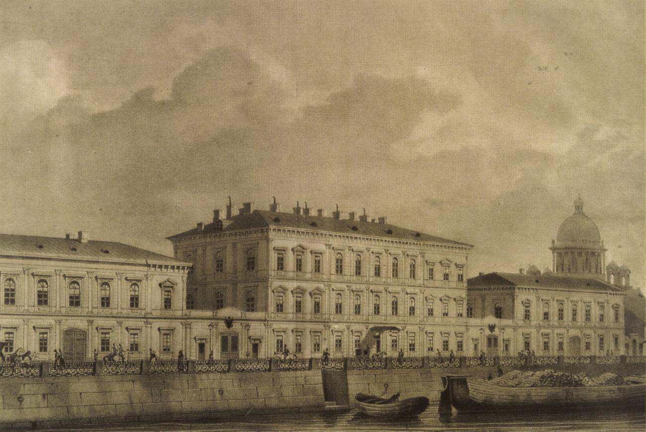モイカ川、サンクトペテルブルク。19世紀、リトグラフ