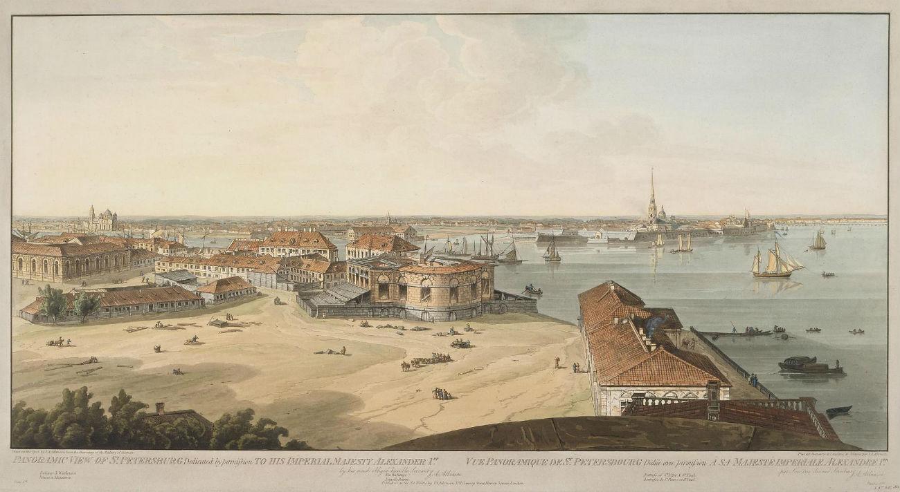 Vistas a Strelka de la isla Vasílievski y la fortaleza de San Pedro y San Pablo en San Petersburgo. Fuente: Museo del Hermitage