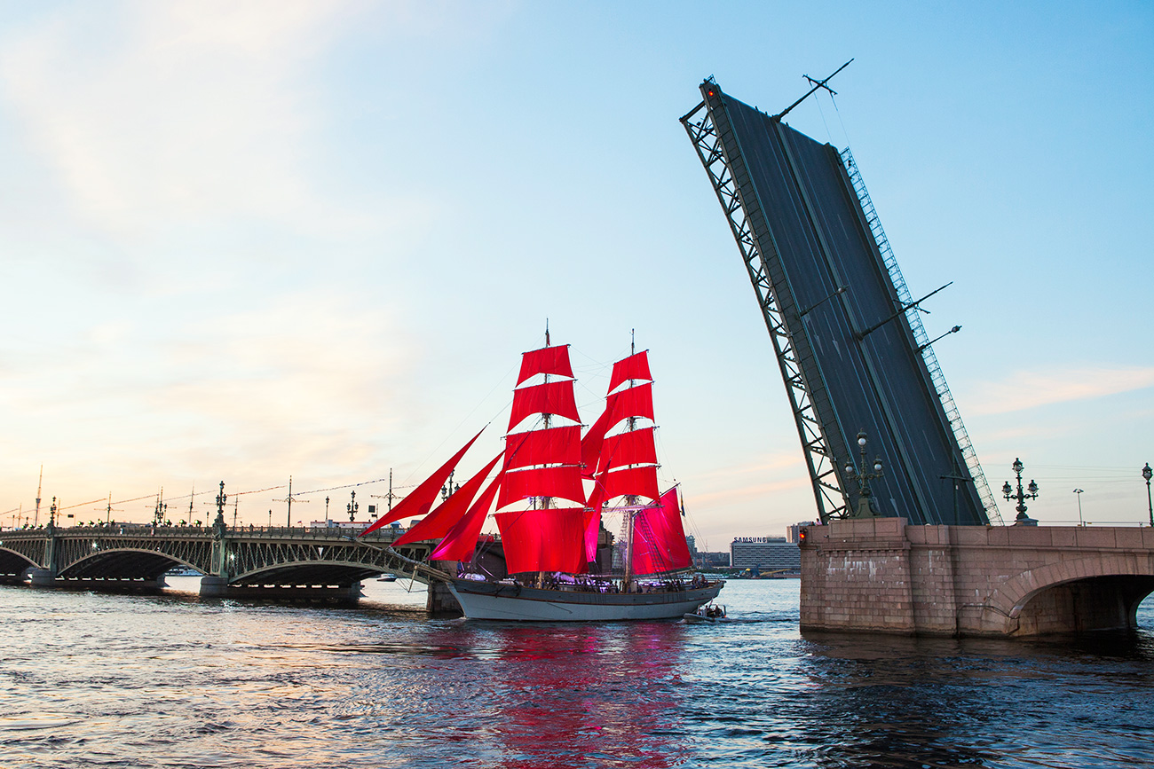 Trinity bridge during the Scarlet Sails festival