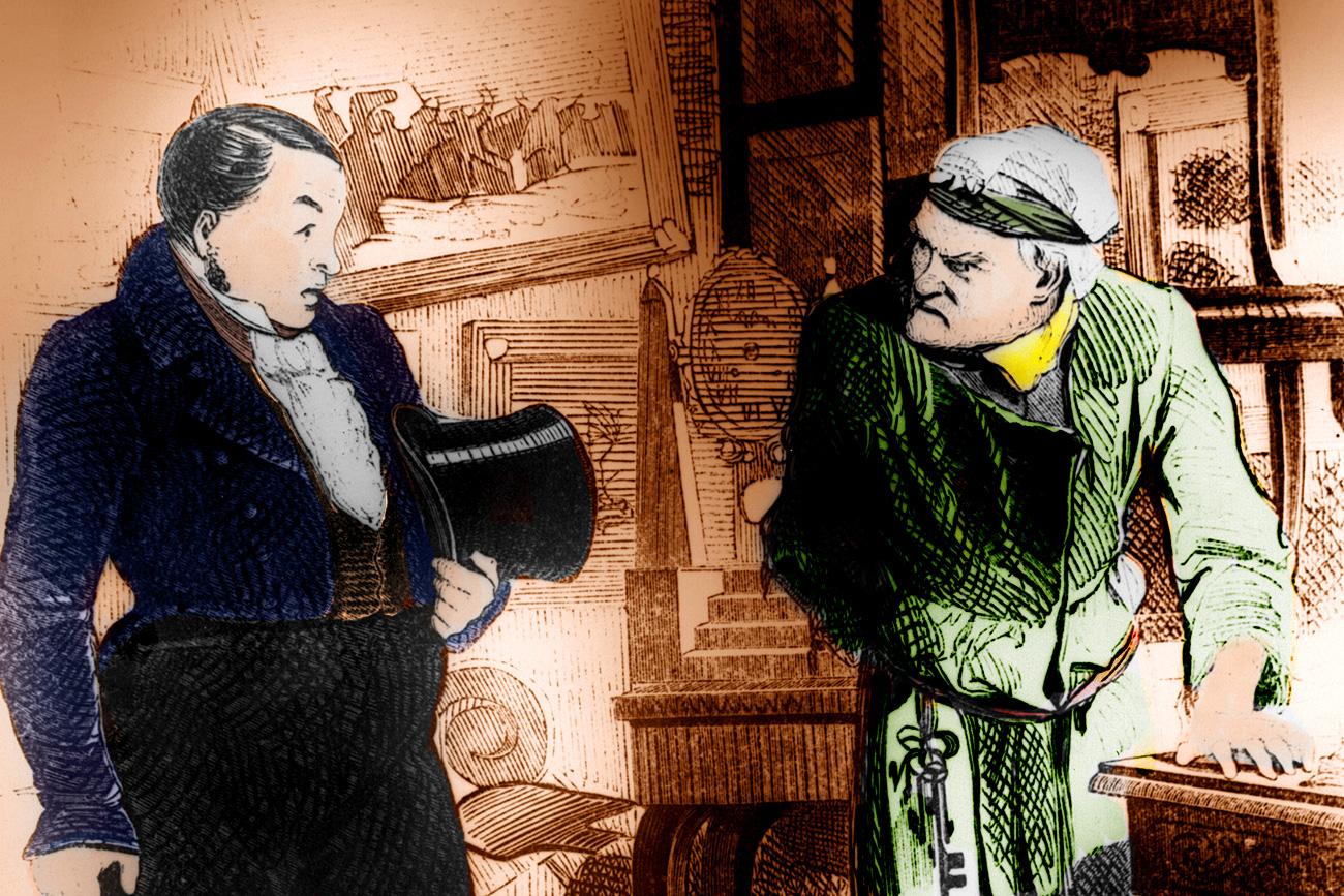 Le personnage principal du roman Âmes mortes Pavel Tchitchikov (à gauche). Crédit : Getty Images