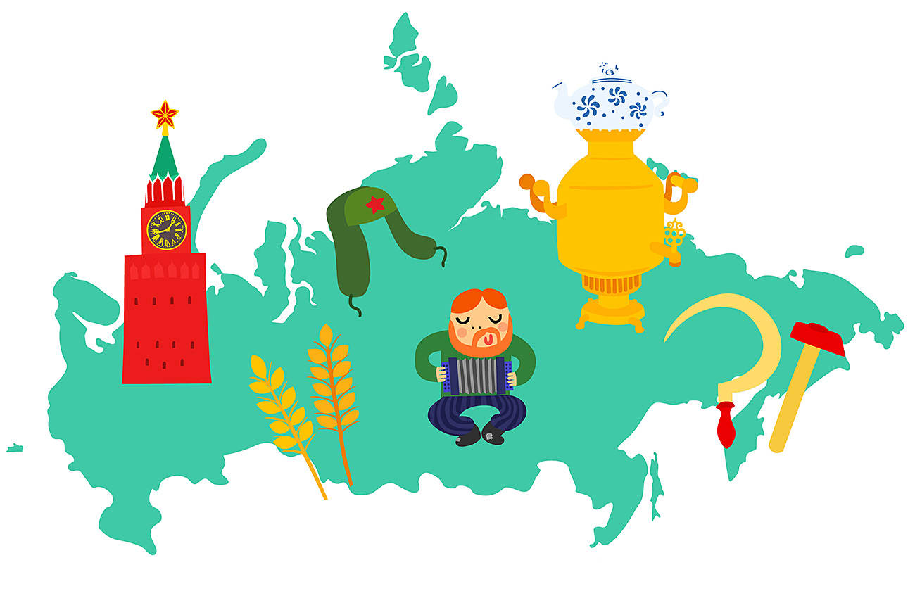 Russia Map with Iconic Objects