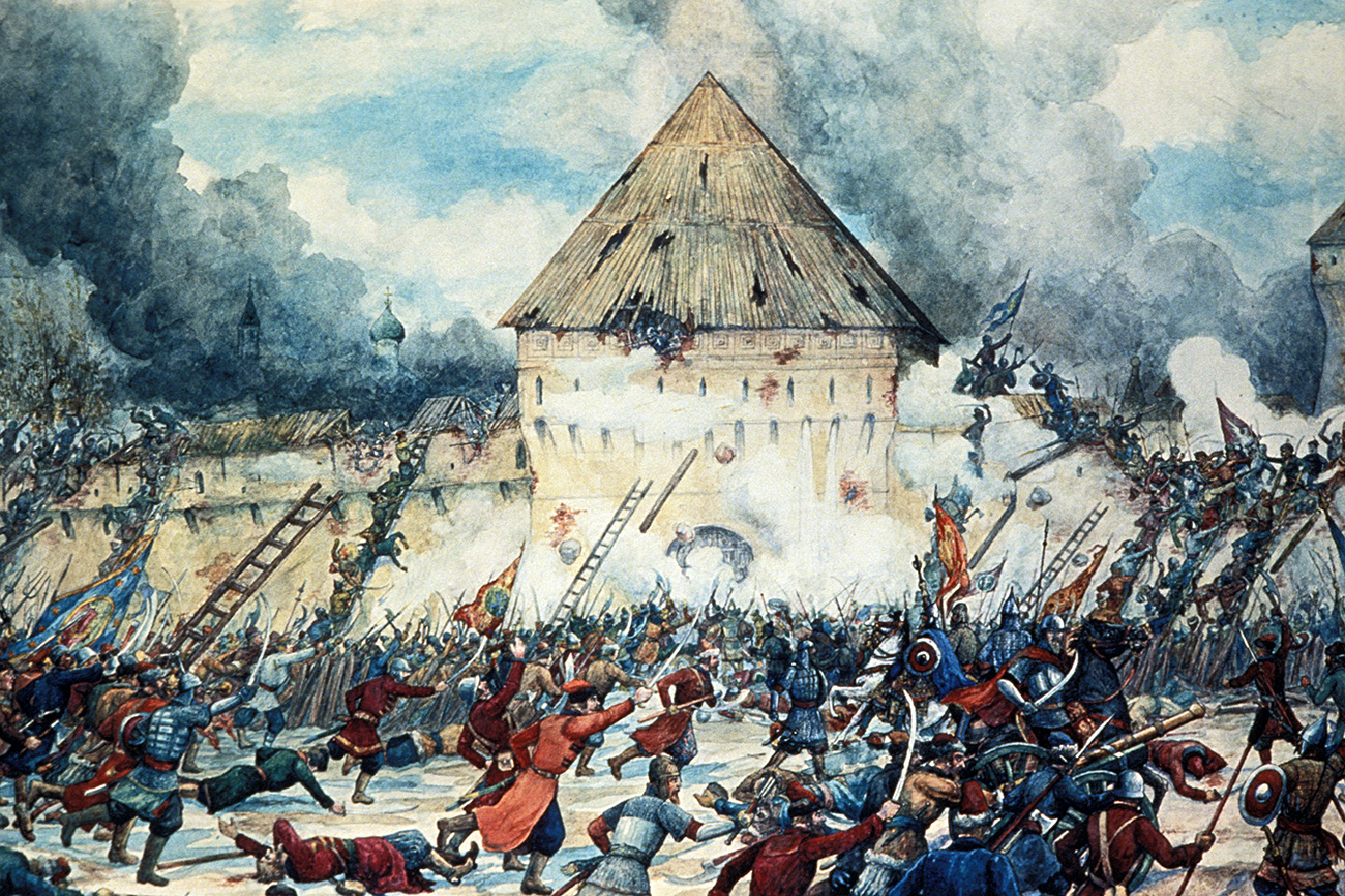Battle with polish interventionists at the vladimir gate of kitai-gorod  (china town)