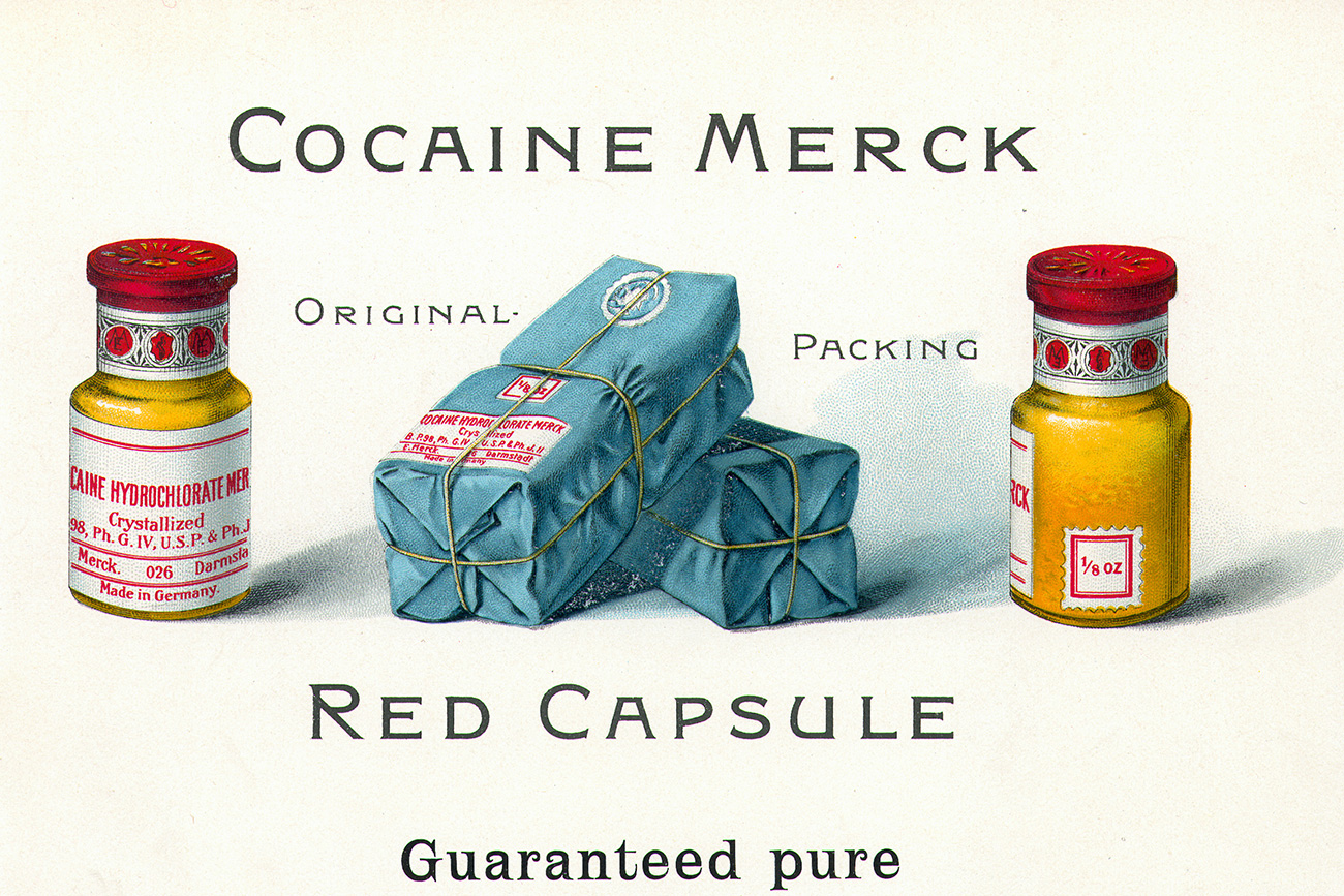 A alemã Merck foi pioneira na fabricação comercial de morfina no século 19 e, por algum tempo, manteve monopólio sobre a venda de cocaína