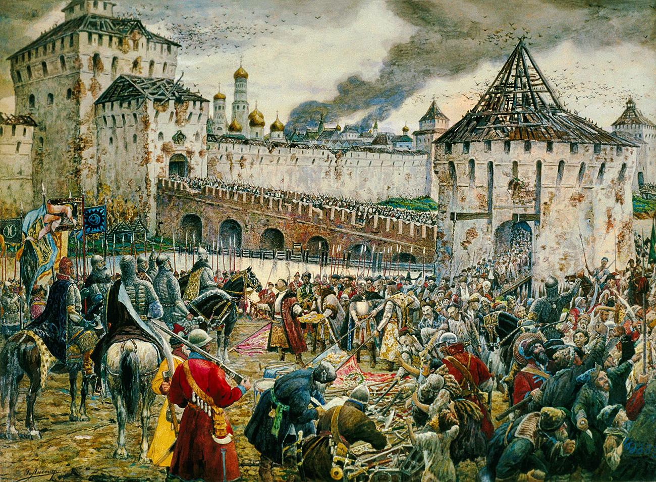 Os poloneses entregam o Kremlin ao príncipe Pozharsky em 1612 / Ernest Lissner