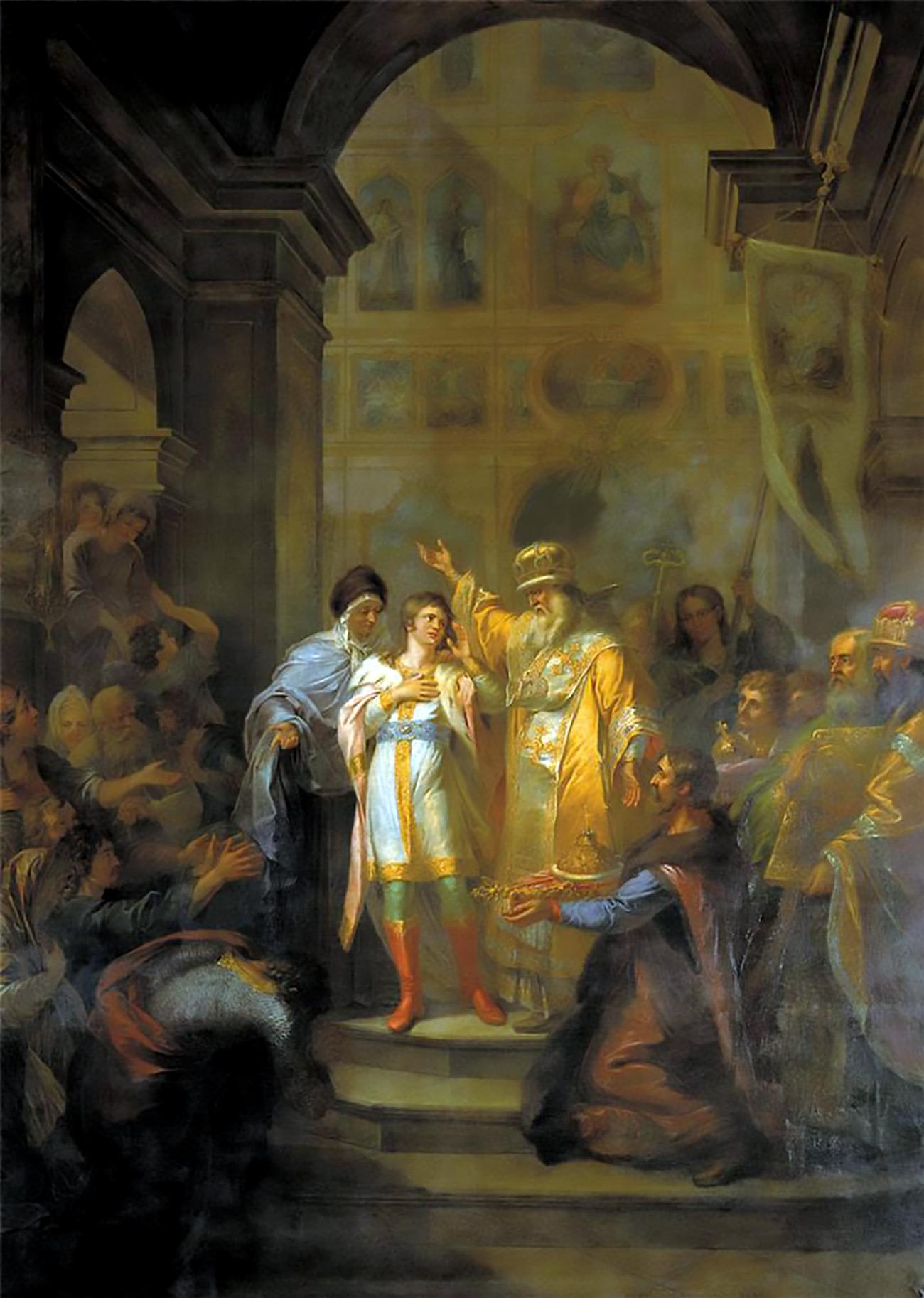 Mikhail Feodorovich sobe ao trono russo em 14 de março de 1613 / Tretyakov Gallery
