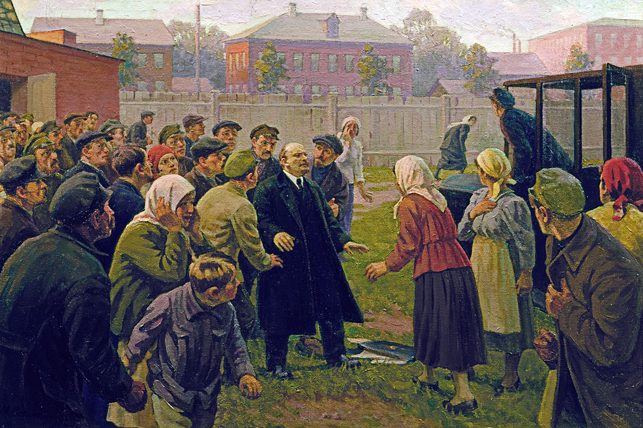 "M.G.Sokolov. ""Attempt on Vladimir Lenin's life, August 30, 1918"", Vladimir Lenin's Central Museum."