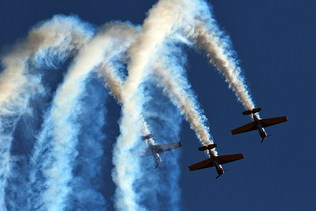 The First Flight aerobatic team performs at the International Aviation and Space Salon MAKS-2017 in Zhukovsky.