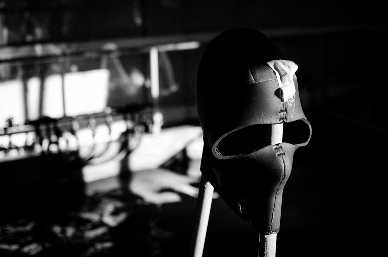 Frogman's mask which he wears under the helmet. / Artem Protsyuk