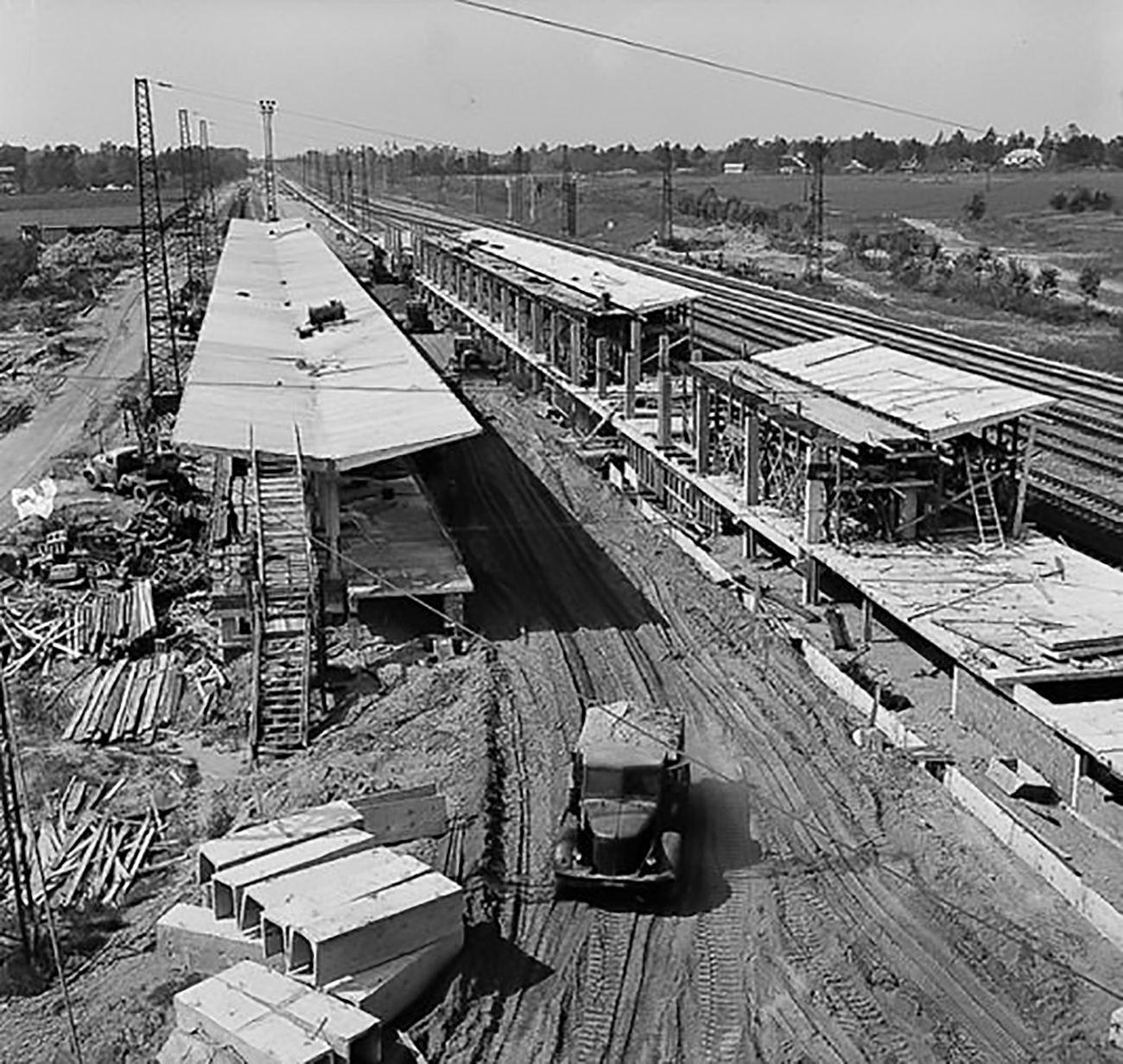 The Moscow Metro, which now counts 206 stations, only raised the pace of construction, and the major transfer points (from the regions to Moscow), through which millions of passengers now pass every day, were just being built less than 50 years ago.  Pictured: Vykhino railway station under construction, 1965