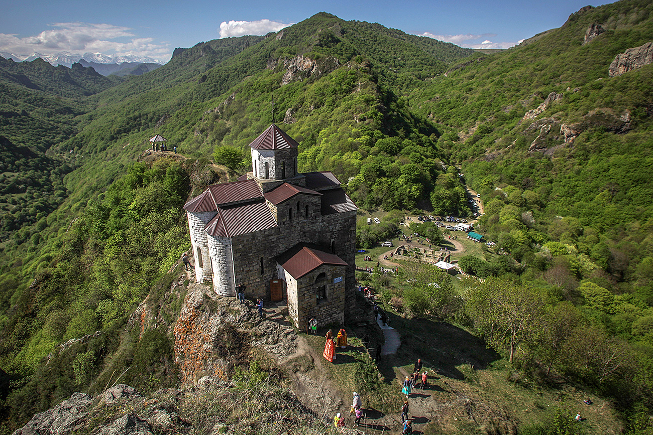 A Shoana Church (the 10th century) outside the village named after Costa Khetagurov in the Karachay-Cherkess Republic.