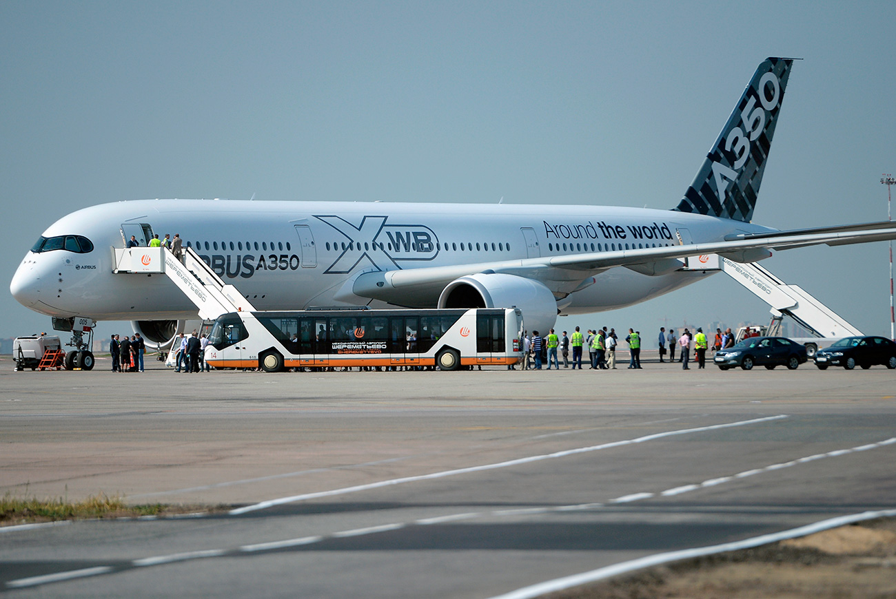 The long-range passenger plane, Airbus A350 XWB, that has landed at the Sheremetyevo airport while being on its around the world testing tour.